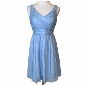 J. Crew light blue silk chiffon Heidi dress 0P
